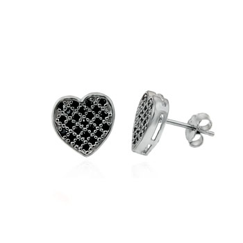 Sterling Silver Heart Shape Cubic Zirconia Black Round CZ Earrings