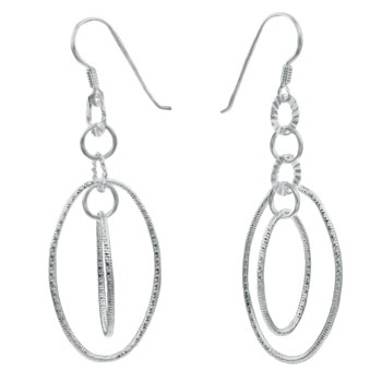 Sterling Silver 2 Oval Shape Dangle Earrings