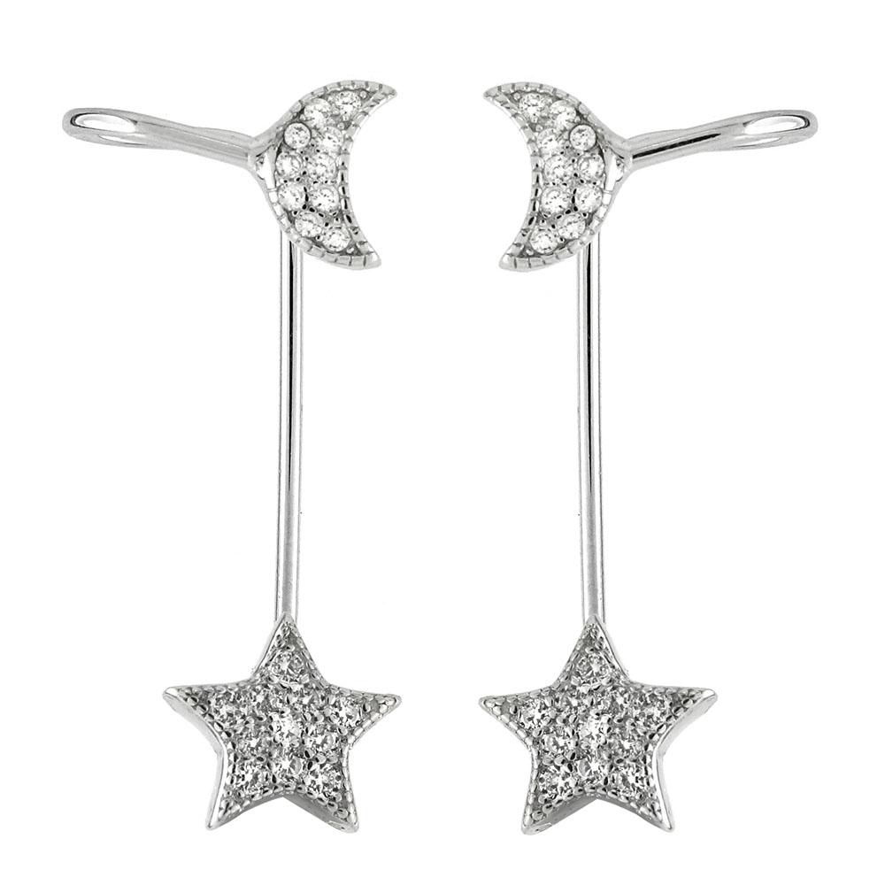 a1a6b0b08 Wholesale Sterling Silver CZ Moon & Star Ear-Jacket 2 in 1 Earrings