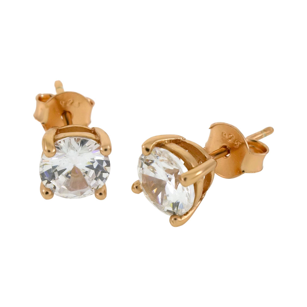 2ae006f008261 Wholesale Sterling Silver Round CZ 14K Rose Gold Plated Casting Stud ...