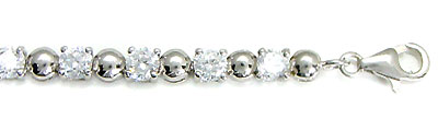 Sterling Silver Round Cubic Zirconia Tennis Bracelet