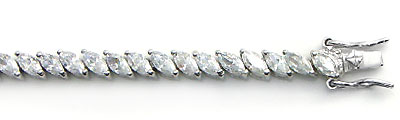 Sterling Silver Marquise Cubic Zirconia Tennis Bracelet
