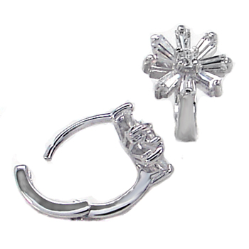925 Silver Flower Shape Baguett CZ Earrings