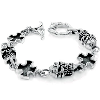 Sterling Silver Skull & German Cross Men's Bracelet
