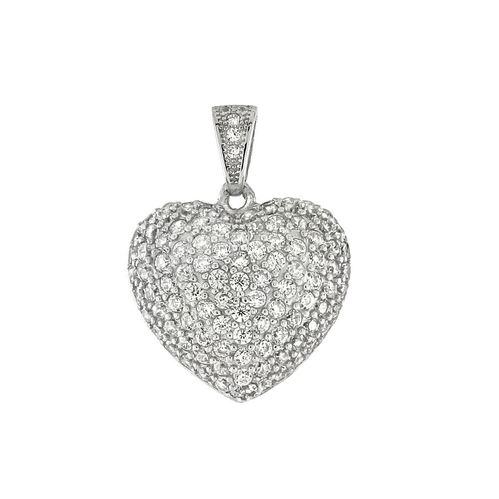 Sterling Silver Cubic Zirconia Puff Heart Rodium Pendant