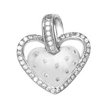 Sterling Silver Micro Pave CZ Heart Rhodium Pendant