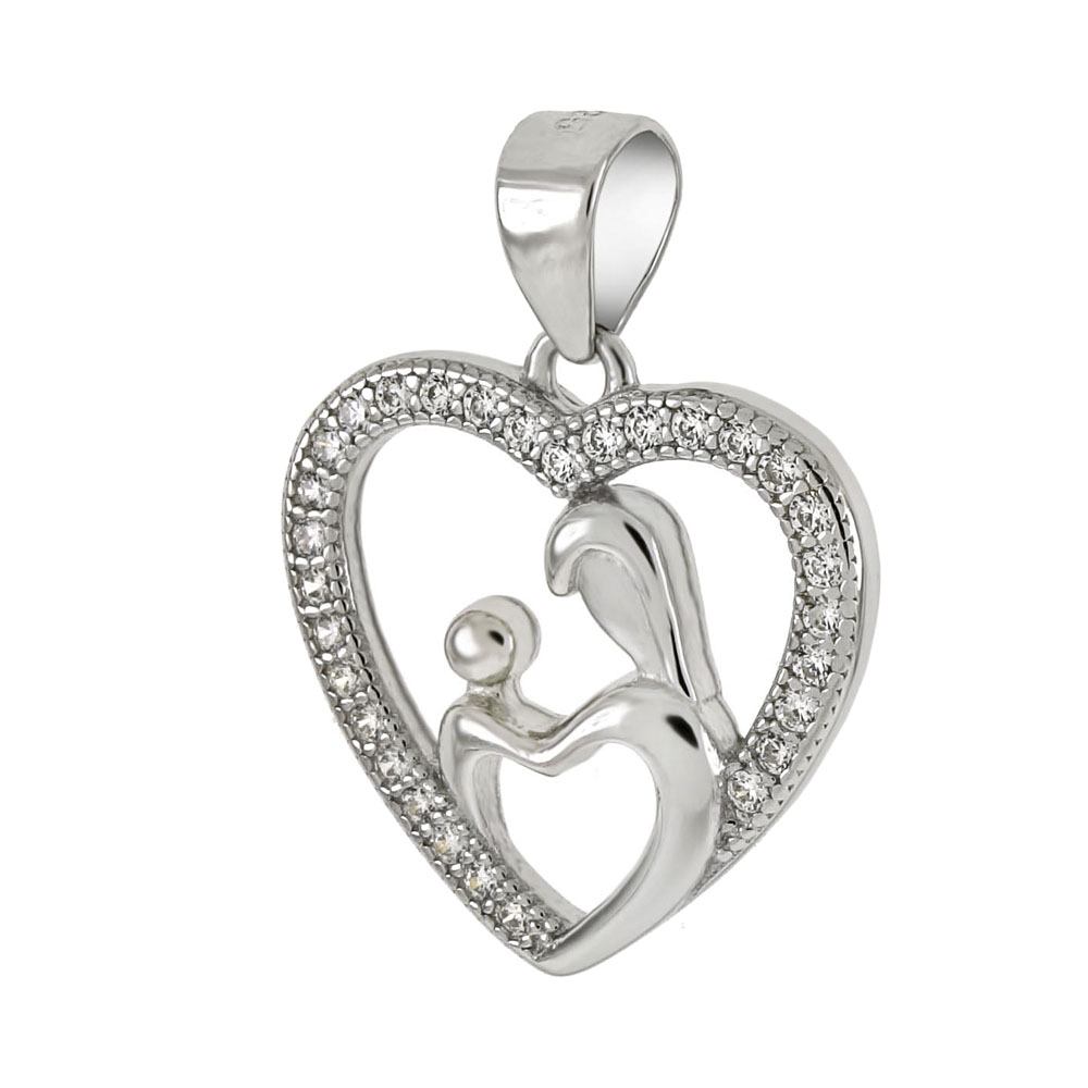 Sterling Silver Mother and Child CZ Heart Rhodium Pendant