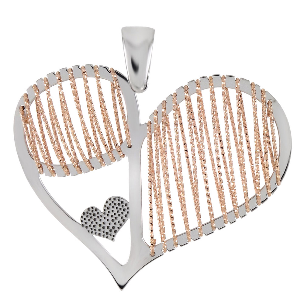 Italian Sterling Silver Two Tone 3D Laser Cut Heart Pendant