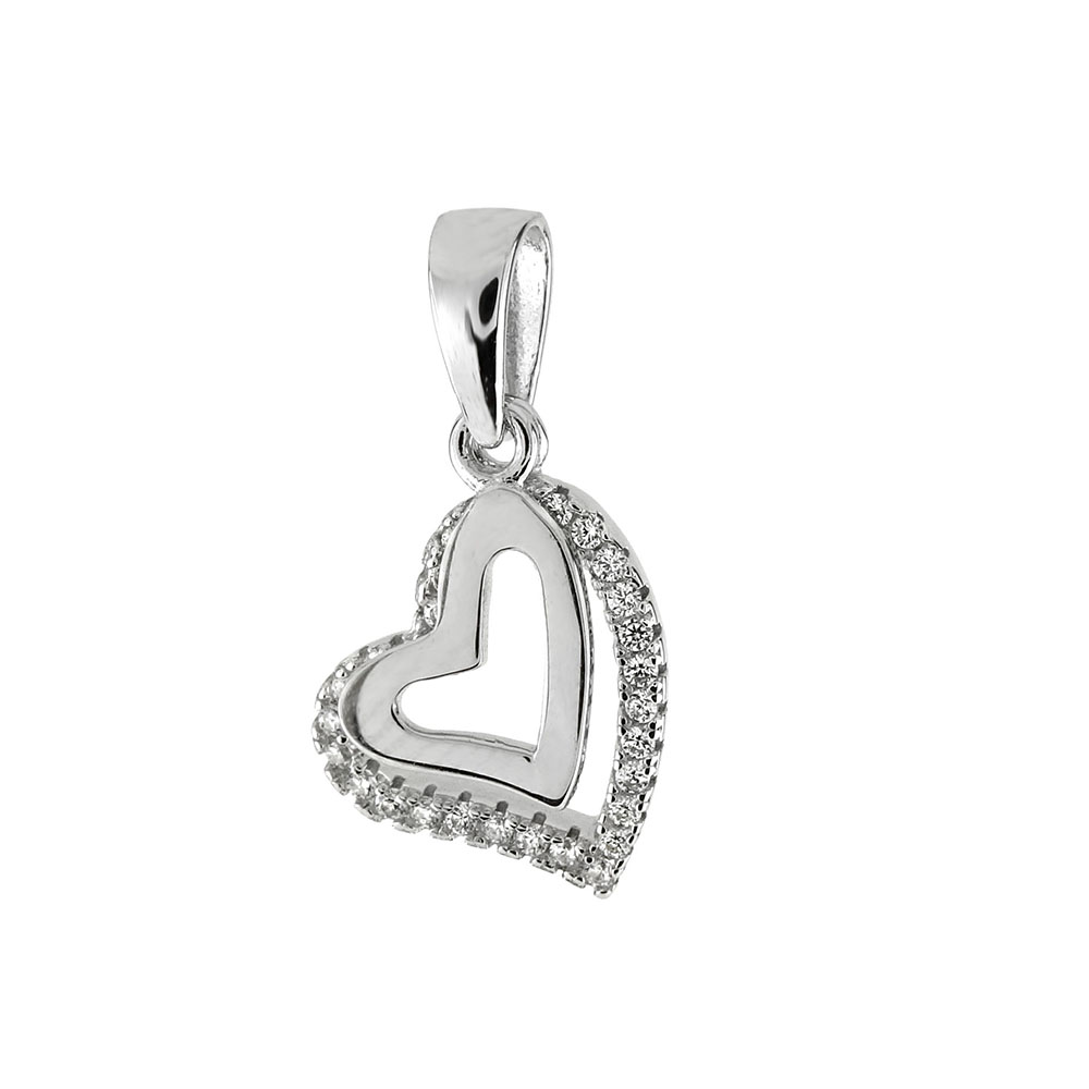 Sterling Silver Double Floating Heart CZ Rhodium Pendant