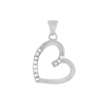 Sterling Silver Cubic Zirconia Heart CZ Pendant
