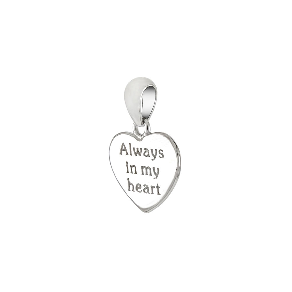 Sterling Silver ALWAYS IN MY HEART Heart Pendant