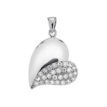 Sterling Silver Cubic Zirconia Pave Rodium Heart Pendant