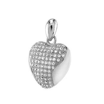 Sterling Silver Micro Pave CZ Heart Pendant