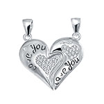 Sterling Silver CZ Breakable Heart I LOVE YOU Pendant