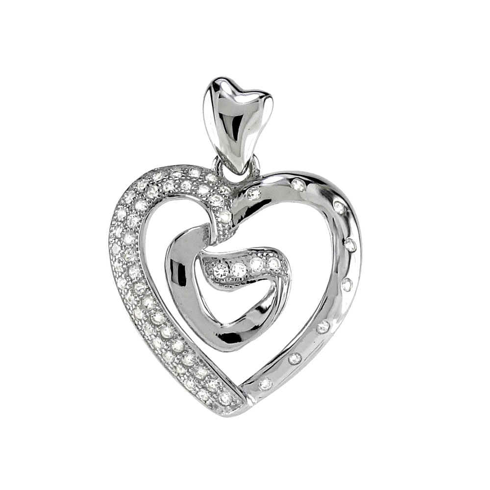 Sterling Silver Double CZ Heart  Rhodium Pendant
