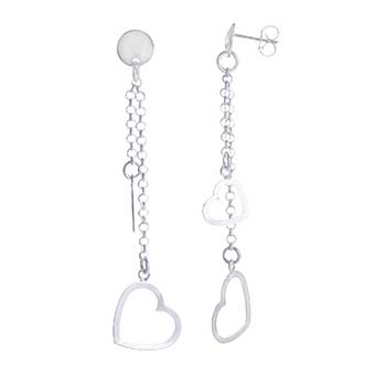 Italian Sterling Silver Dangling Hearts Earrings
