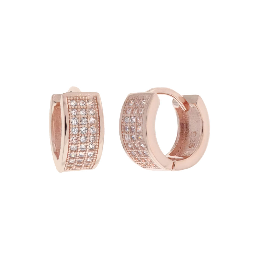 Sterling Silver 3 Lines Cubic Zirconia Rose Gold Plated Huggie Hoop Earrings