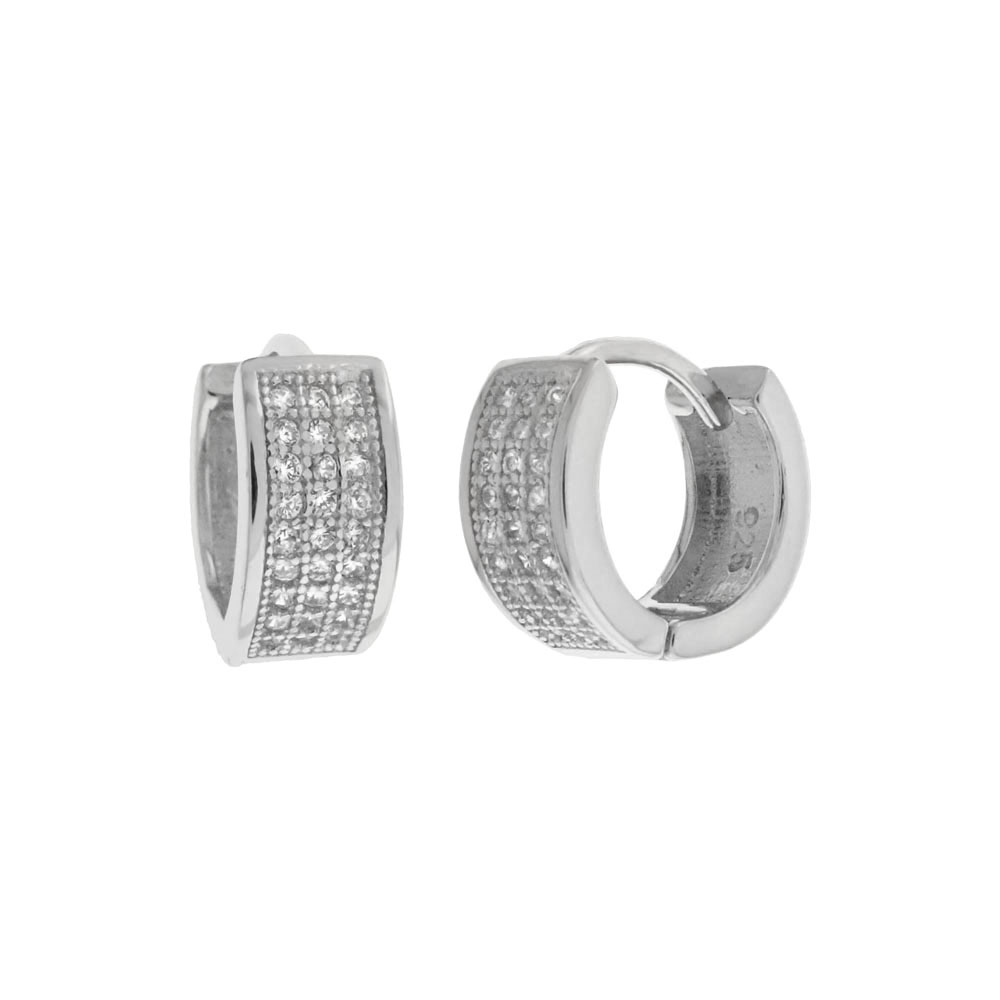 Sterling Silver Three Lines Cubic Zirconia Huggie Hoop Earrings