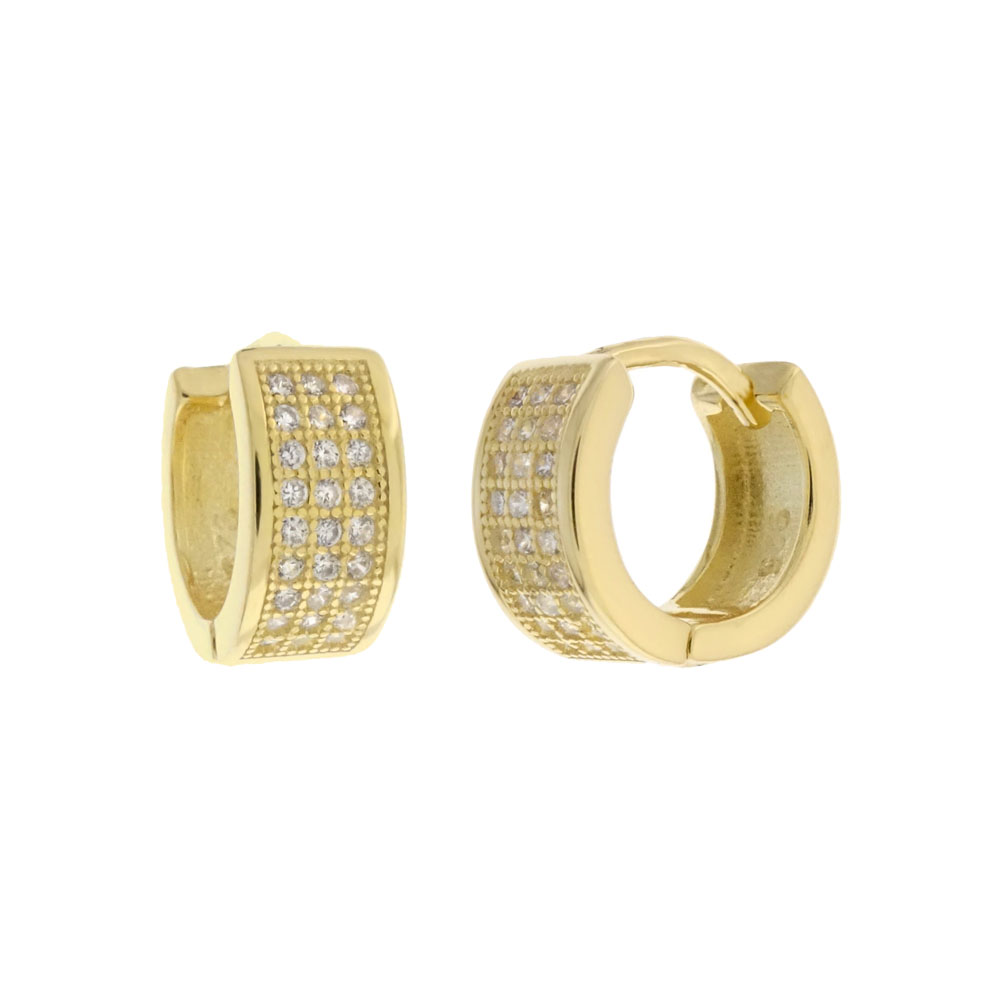 Sterling Silver 3 Lines Cubic Zirconia Gold Plated Huggie Hoop Earrings