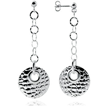 Italian Sterling Silver Round Hammered Dangle Earrings
