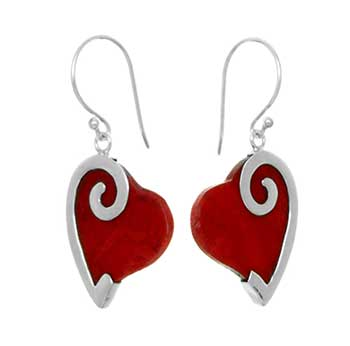 Sterling Silve Red Coral Heart Earrings