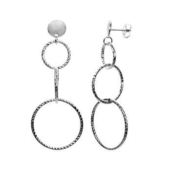 Italian Sterling Silver D/C Loops Dangle Earrings