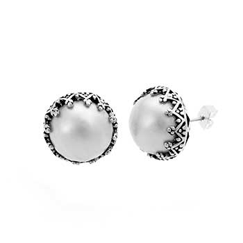 Sterling Silver Mabe Pearl Oxidize Earrings