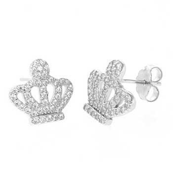 Sterling Silver Crown Pave CZ Earrings