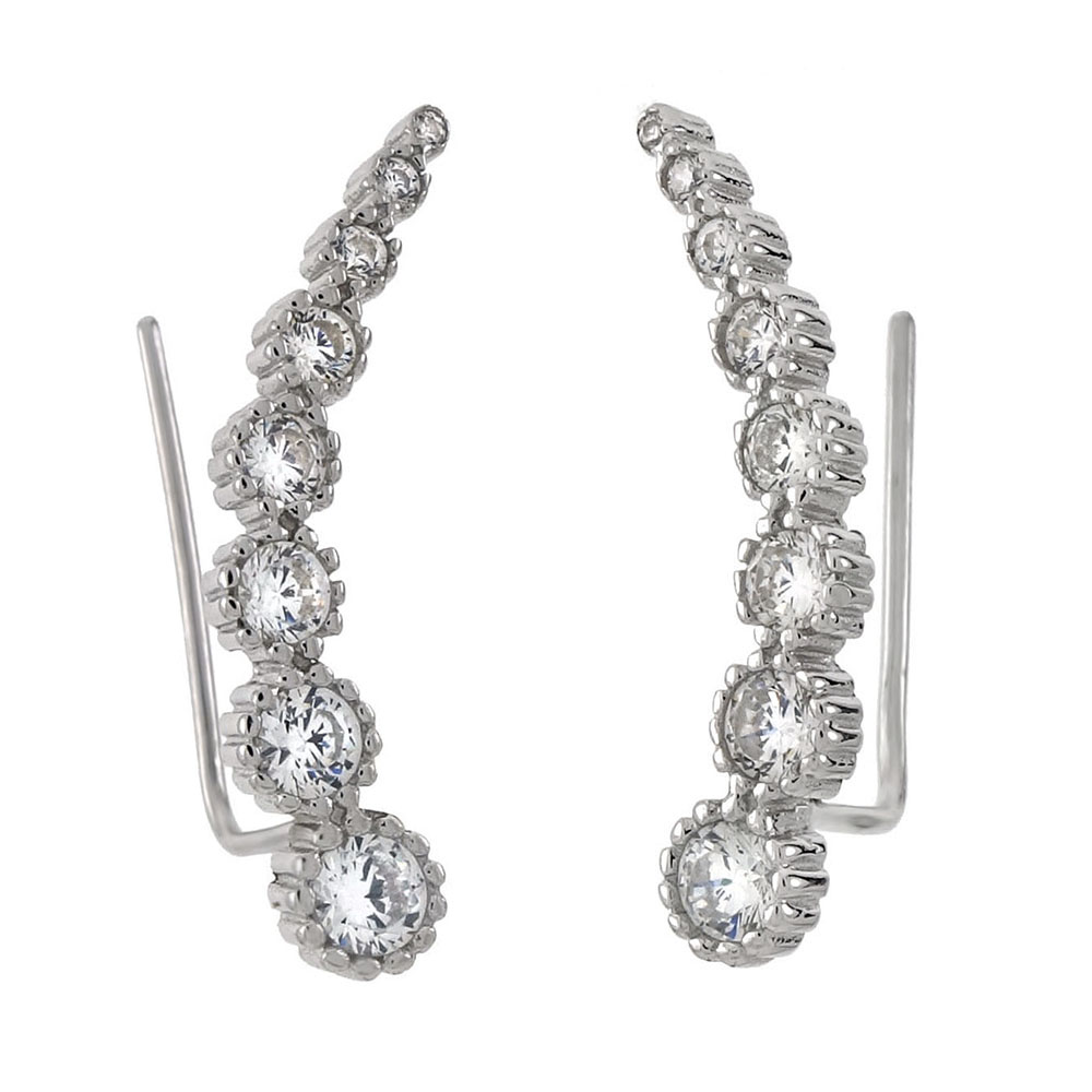 Sterling Silver Round CZ Ear Climbers Earrings