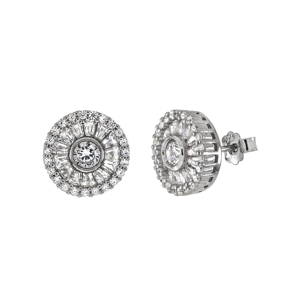 Sterling Silver Round & Trapezoid CZ Post Earrings