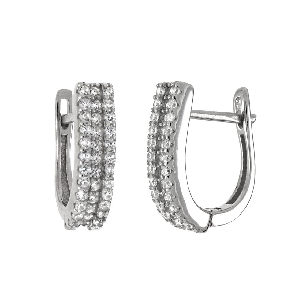 Sterling Silver 3 Lines Cubic Zirconia French Clip Hoop Earrings