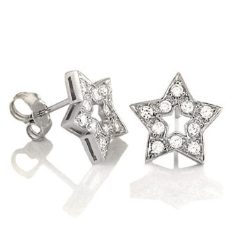 Sterling Silver Cubic Zirconia Star Rhodium Earrings