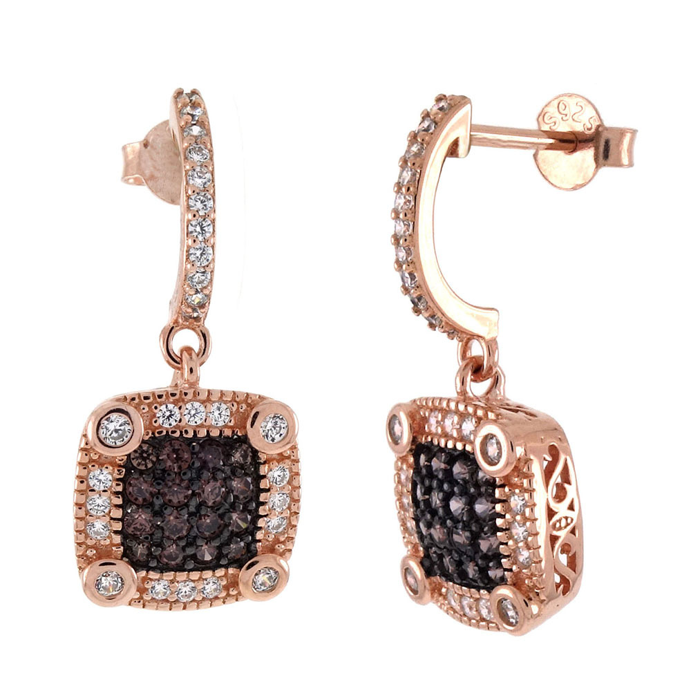 Sterling Silver Chocolate CZ Rose Gold Plated Earrings