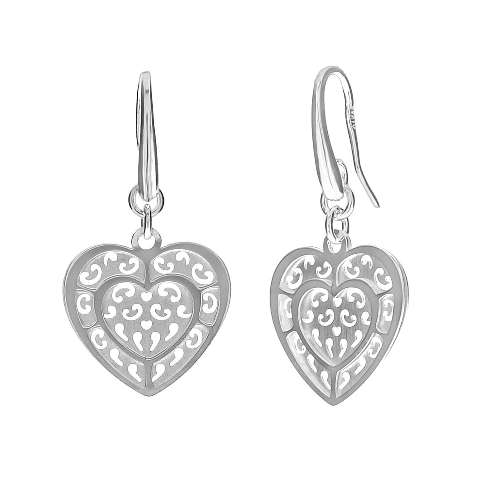 Italian Sterling Silver Heart Laser Cut Dangle Earrings