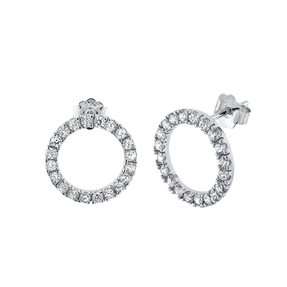 Sterling Silver Cubic Zirconia CZ Eternity Circle Earrings