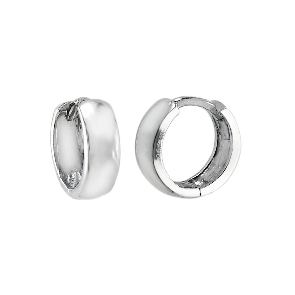 Sterling Silver Huggie Rhodium Earrings
