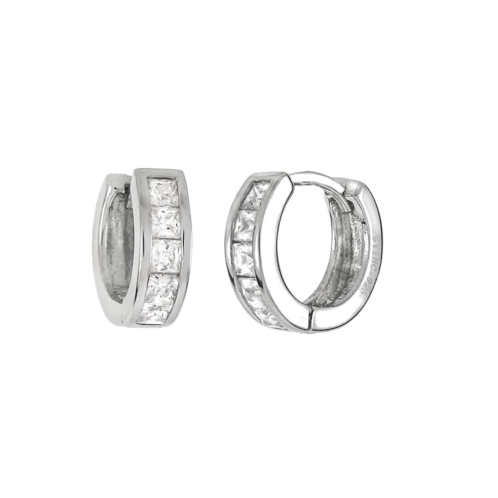 Sterling Silver Square Cubic Zirconia Huggie Earrings