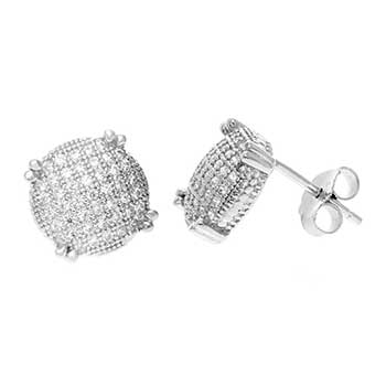 Sterling Silver Round CZ Pave Stud Earrings