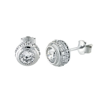 Sterling Silver 6mm Round Cubic Zirconia Post Earrings
