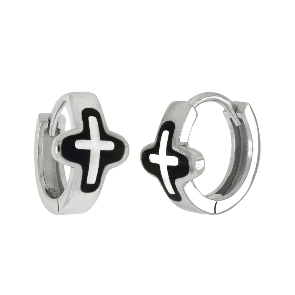 Sterling Silver Black Enamel Cross Huggie Earrings