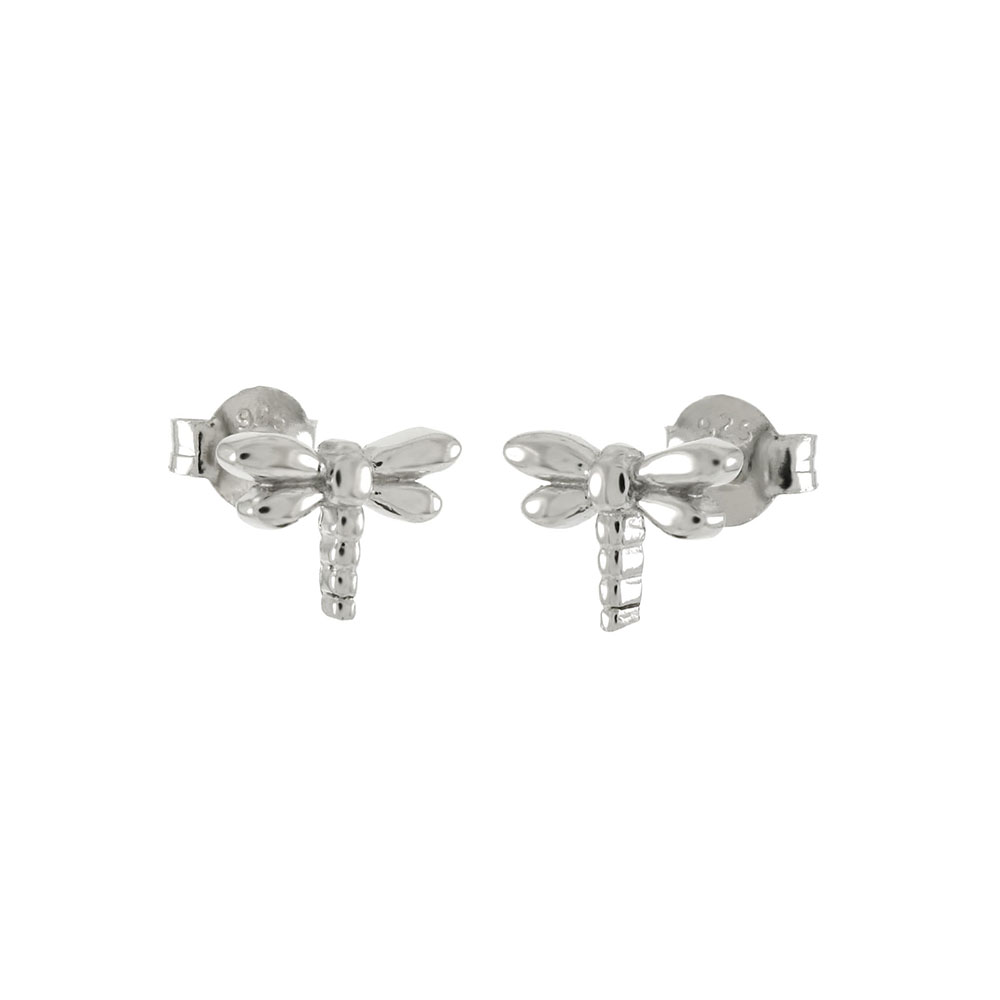 Sterling Silver Dragonfly Rhodium Stud Earrings