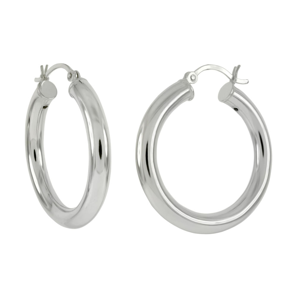 Sterling Silver 4mm Round Tube Hoop Earrings