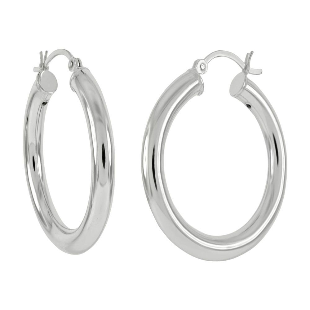 Sterling Silver 3mm Round Tube Hoop Earrings