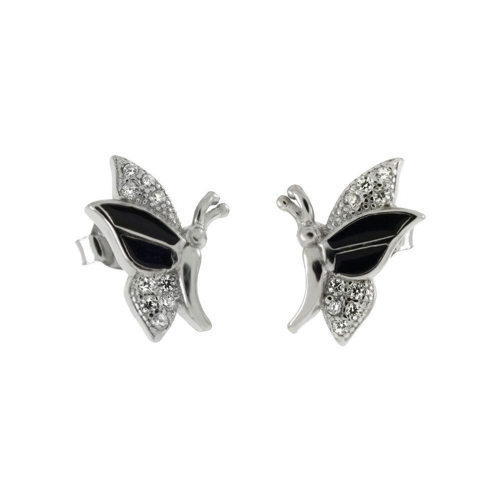 Sterling Silver CZ & Black Enamel Butterfly Stud Earrings