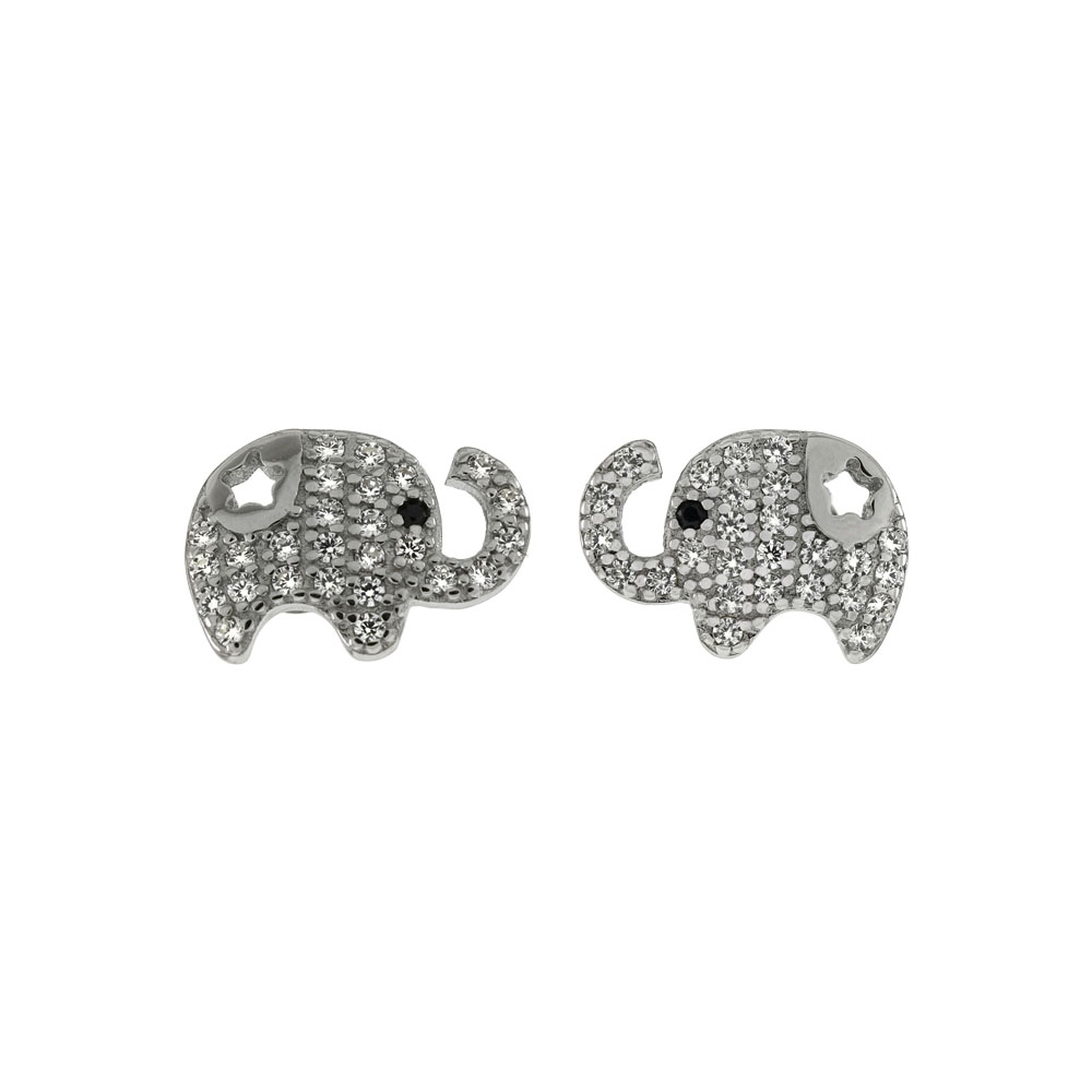 Sterling Silver Pave CZ Elephant Stud Earrings