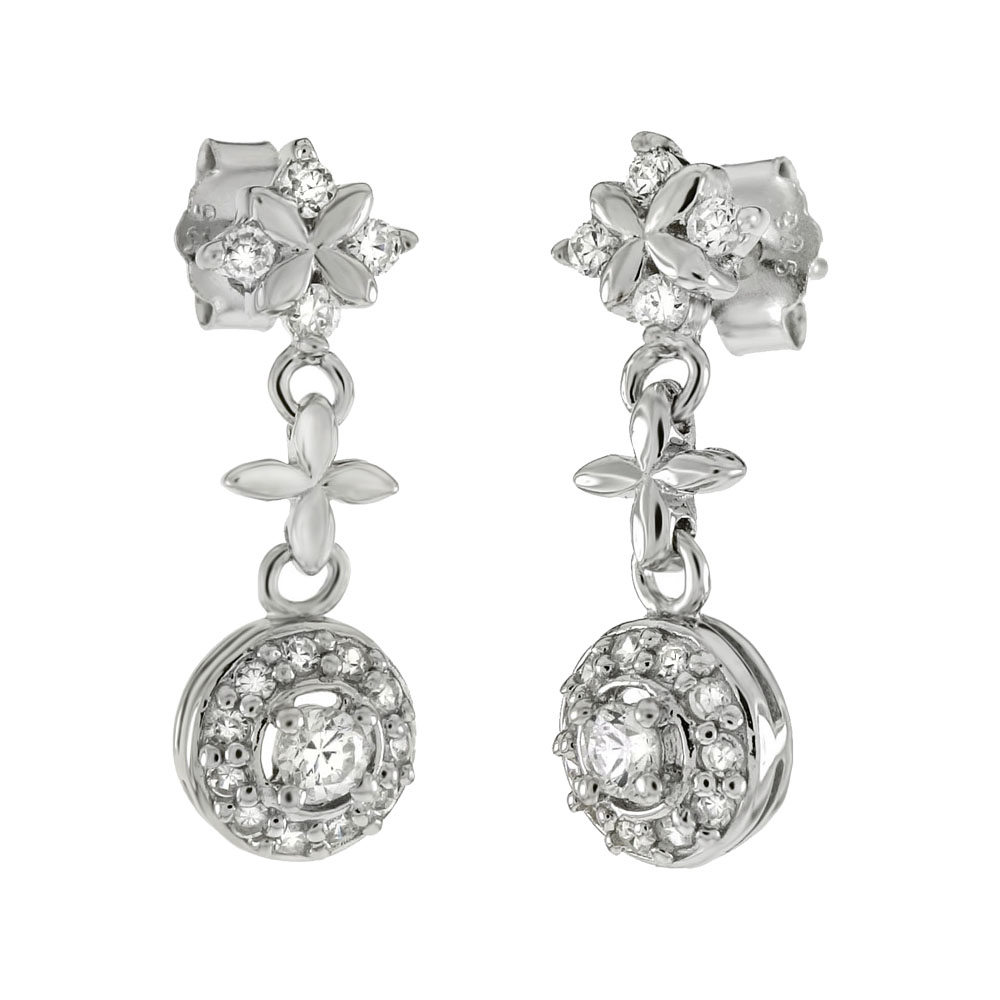 .925 Sterling Silver CZ Dangle Earrings