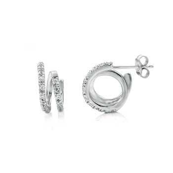 Sterling Silver Double Circle CZ Rhodium Earrings