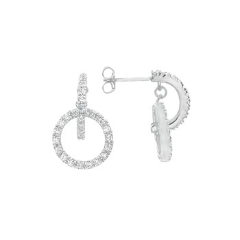 Sterling Silver Circle of Love Micro Pave CZ Rhodium Earring