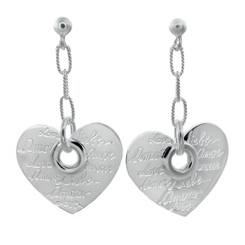 Italian Sterling Silver Dangling Heart Earrings