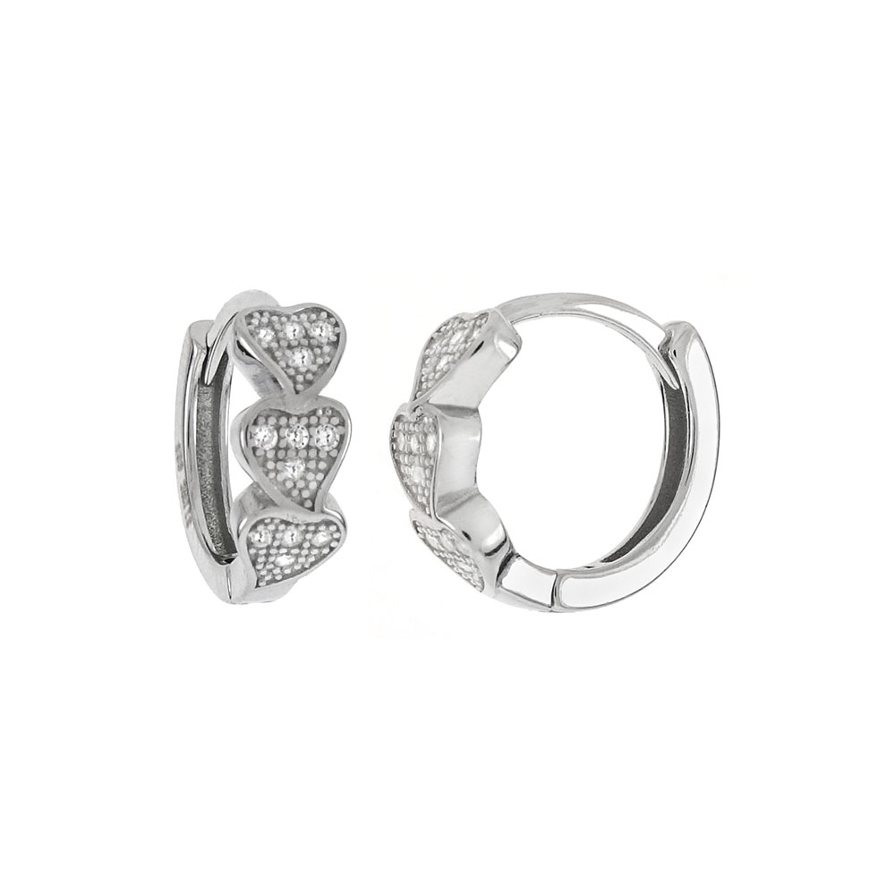 Sterling Silver 3 Hearts CZ  Huggie Hoop Earrings